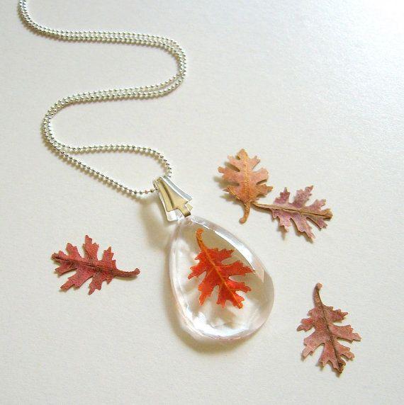 Nara - Real Autumn Oak Leaf Faceted Teardrop Necklace - Pressed leaf, oak, facet, Autumn, woodland, forest, minimal, simplicity, ooak, gift