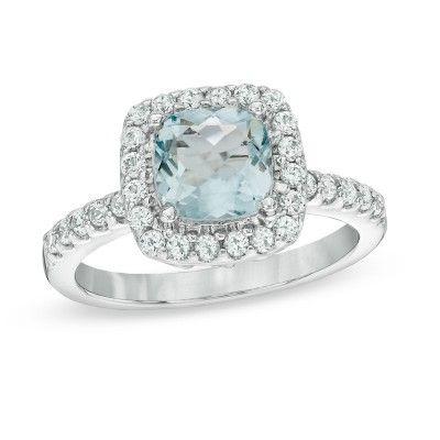 Asscher Cut Aquamarine 925 Sterling Silver Engagement Ring