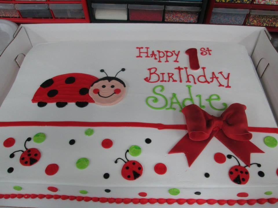 Enjoyable Ladybug Bow Birthday Sheet Cake Sugarshackscia Birthday Sheet Funny Birthday Cards Online Kookostrdamsfinfo