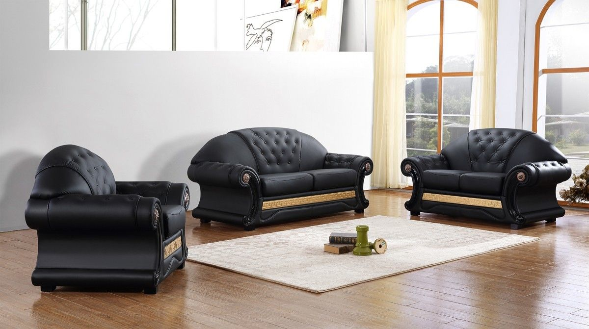 Sensational Divani Casa Cleopatra Traditional Black Leather Sofa Set Gmtry Best Dining Table And Chair Ideas Images Gmtryco