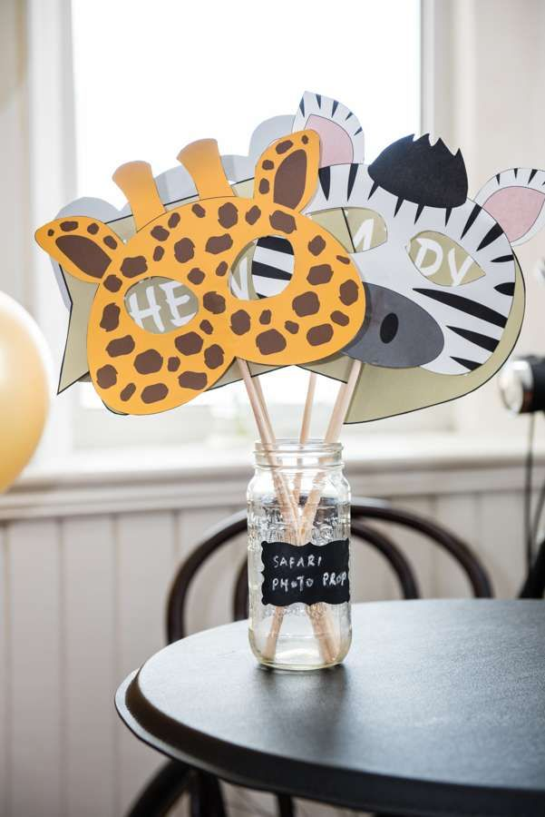 The photo booth props at this African Safari 1st Birthday Party are so cool!! See more party ideas and share yours at CatchMyParty.com #catchmyparty #safariphotoprops #safarianimals #safaribirthdayparty #boy1stbirthdayparty #boybirthdayparties