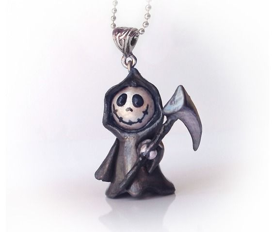 *POLYMER CLAY ~ Cute Grim Reaper   Pendant-Pendants