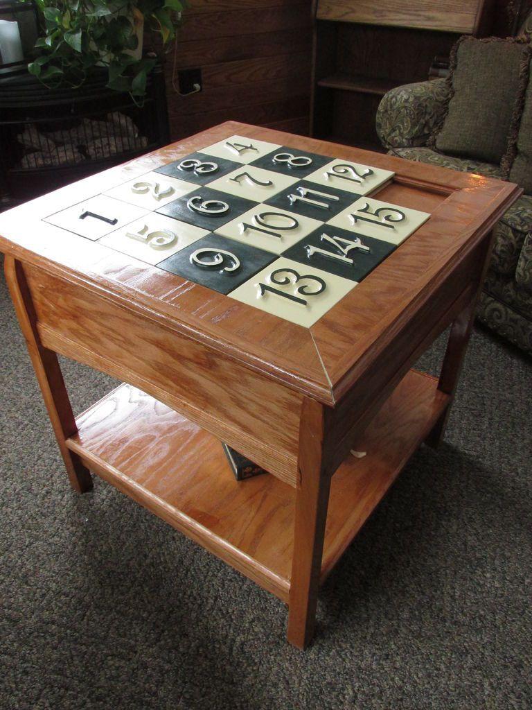 Sliding Puzzle Secret Compartment Table Puzzle Table Secret