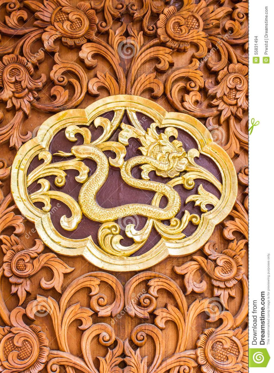 Snack Wood Carving Wall Sculptures In Thai Temple - Download From ...