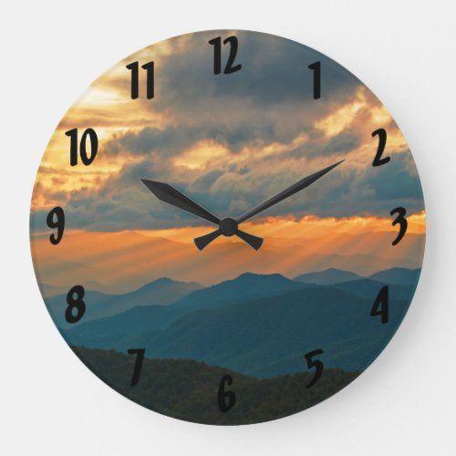 Cowee Mountain Sunset Sunrays Blue Ridge Parkway Large Clock  travel beautiful, exploring travel, vacation travel #TravelTipsandTricks #travellerslife #wildanimals, 4th of july party