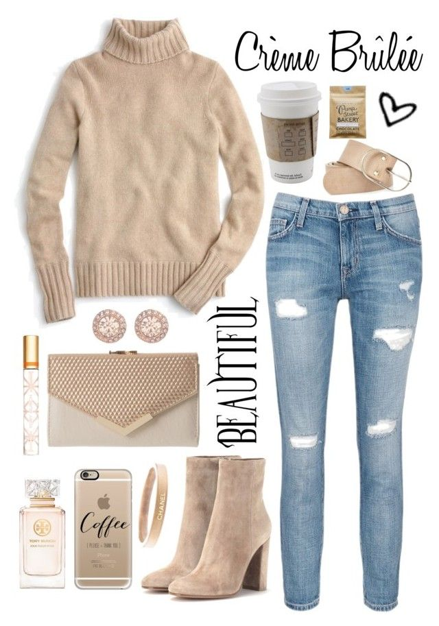 """""""Crème Brûlée"""" by goycotwo ❤ liked on Polyvore featuring Gianvito Rossi, Current/Elliott, J.Crew, Tory Burch, Chanel, Casetify, River Island, Givenchy, Toast and Boots"""