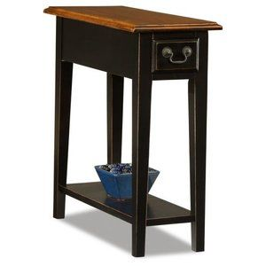 Hardwood 10 Inch Chairside End Table In Black And Oak Walmart Com Chair Side Table End Tables With Storage Side Table With Storage 10 inch end table