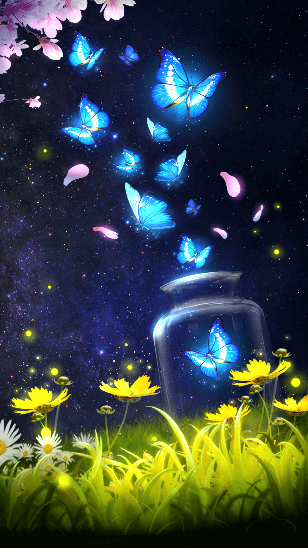 Android live wallpaper/background!Shiny blue butterfly live wallpaper with starry sky as ...