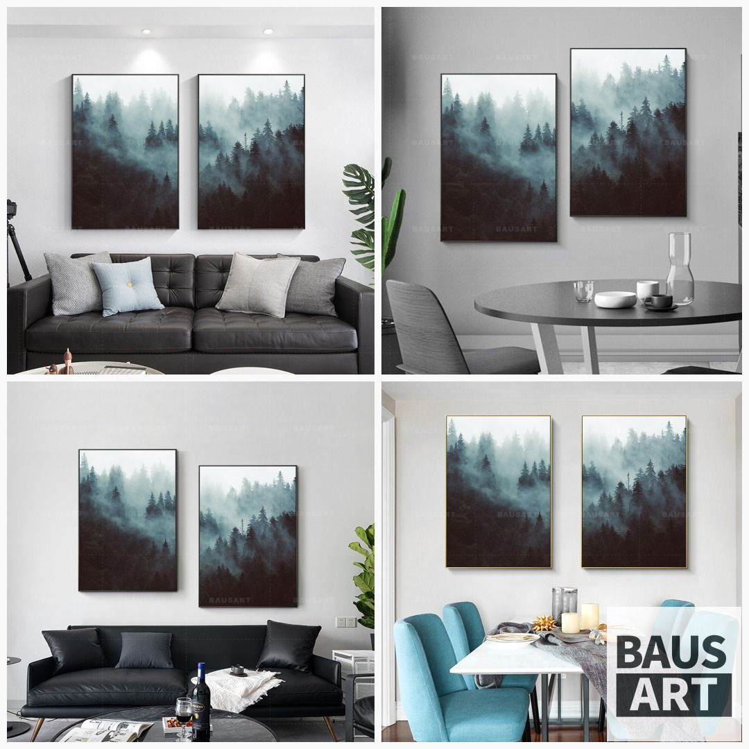 Scandinavian Print Painting On Canvas Large 2 Piece Landscape Etsy Scandinavian Print Canvas Painting Painting