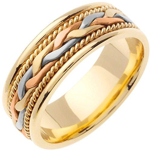 14k Tri Color Gold Braided French Braid Men S Comfort Fit Wedding Band 7mm Mens Gold Wedding Band Wedding Ring Bands Mens Wedding Bands