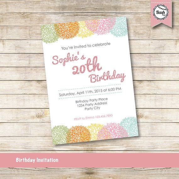 Birthday invitations for women 20th birthday printable pom pom birthday invitations for women 20th birthday printable pom pom flowers invite spring invitation spring colors pink glitter font filmwisefo Images