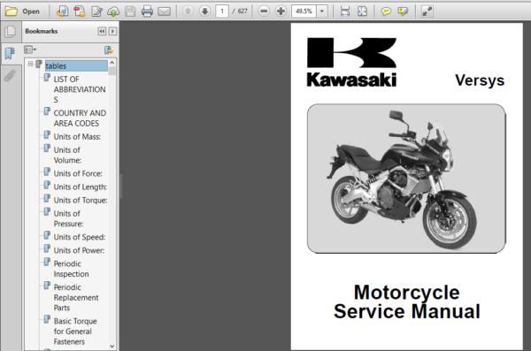 Kawasaki Versys 2009 Full Service Repair Manual Repair Manuals Versys Pdf Download