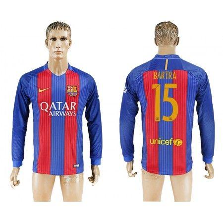 Barcelona 16-17 #Bartra 15 Hjemmebanetrøje Lange ærmer,245,14KR,shirtshopservice@gmail.com