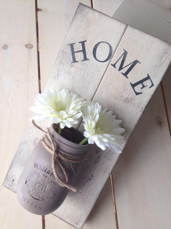 Mason Jar Wall Sconce with Daisies, Home Sign, Rustic Mason Jar Home Decor, Reclaimed Wood