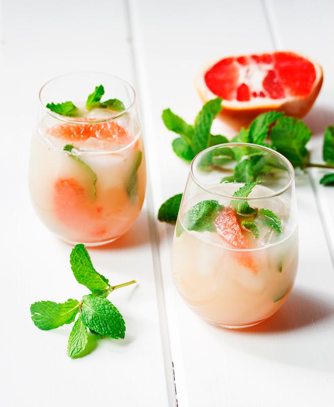 Grapefruit & Vodka Shaken With Egg Whites And Muddled Mint