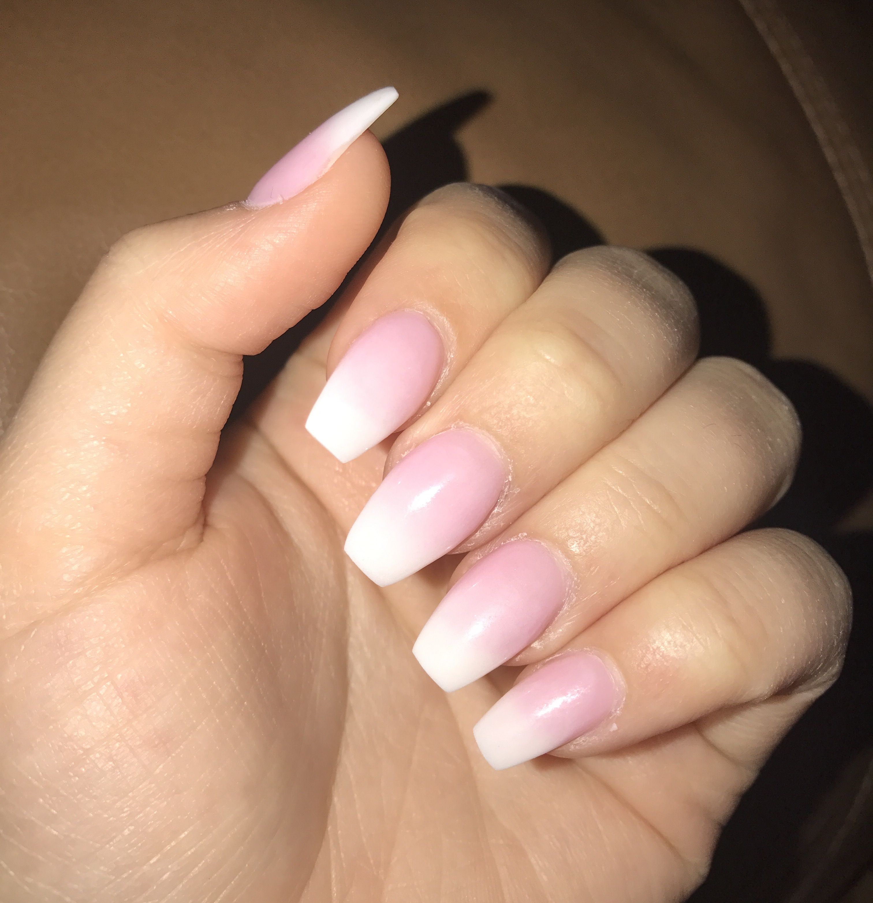 Pink White Ombre Coffin Nails Girly Acrylic Nails White Acrylic Nails Pink Ombre Nails