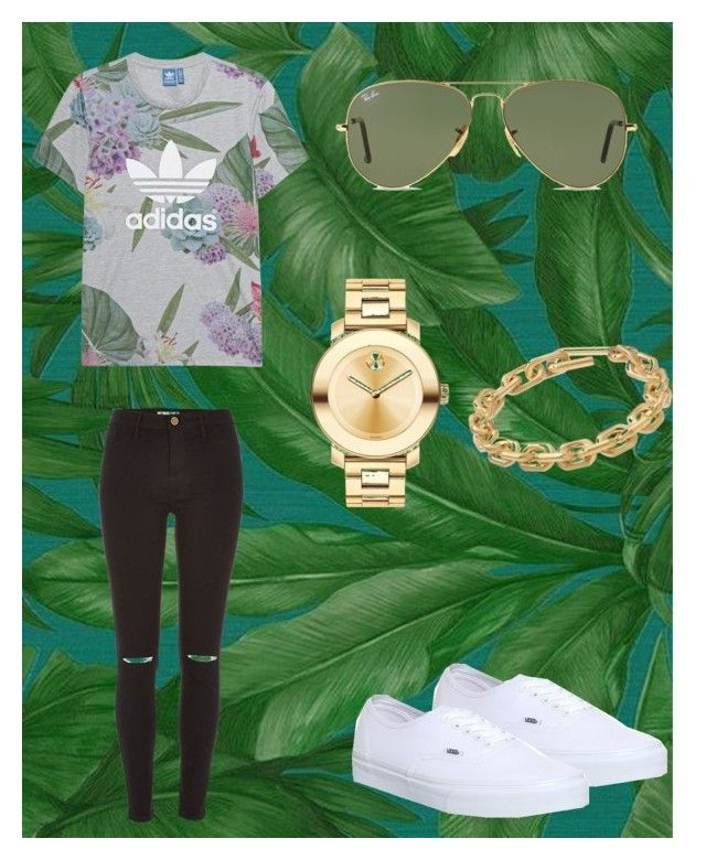 """Untitled #742"" by cvxoh on Polyvore featuring Versace, adidas Originals, River Island, Vans, Movado, Calvin Klein and Ray-Ban"