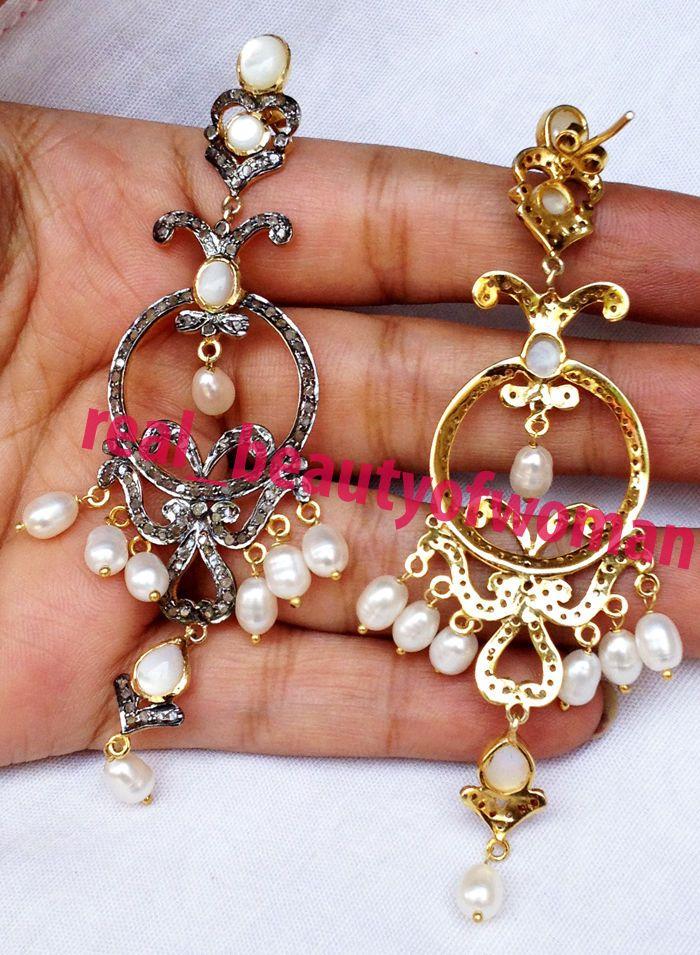 """Edwardian Handmade 3.84cts Rose Cut Diamond Pearl 3.50"""" Long Earrings Chandelier #realbeautyofwoman #EarringsChandelier"""