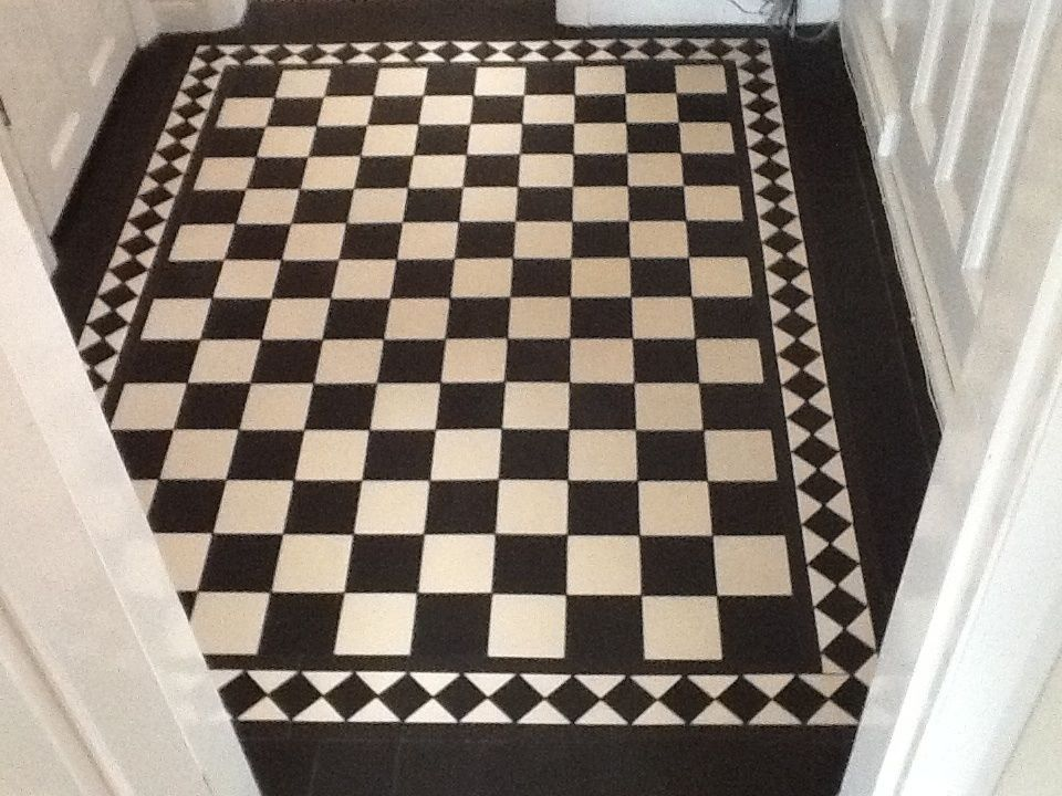 Victorian Old English Original Style Floor Tiles Chequerboard Black