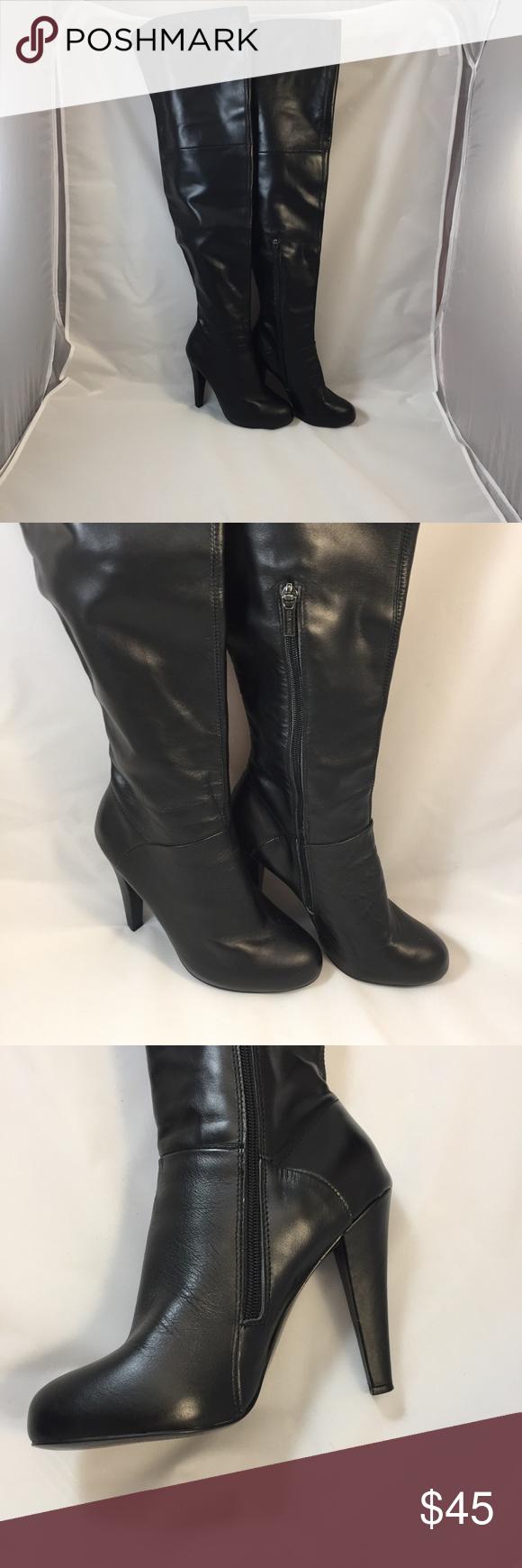 Colin Stuart Thigh High Black Boots Size 7.5B Z Colin Stuart Shoes Over the Knee Boots