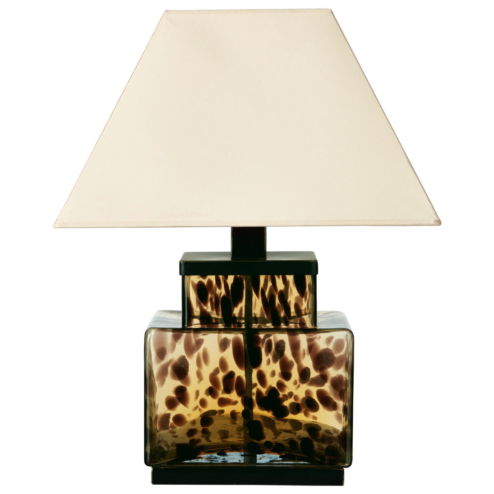 Faux Tortoiseshell Square Glass Lamp | Lamp, Glass lamp