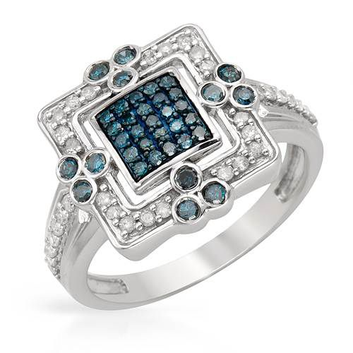 Vibrant Ring With 0.55ct TW Genuine Diamonds Made in White Gold-