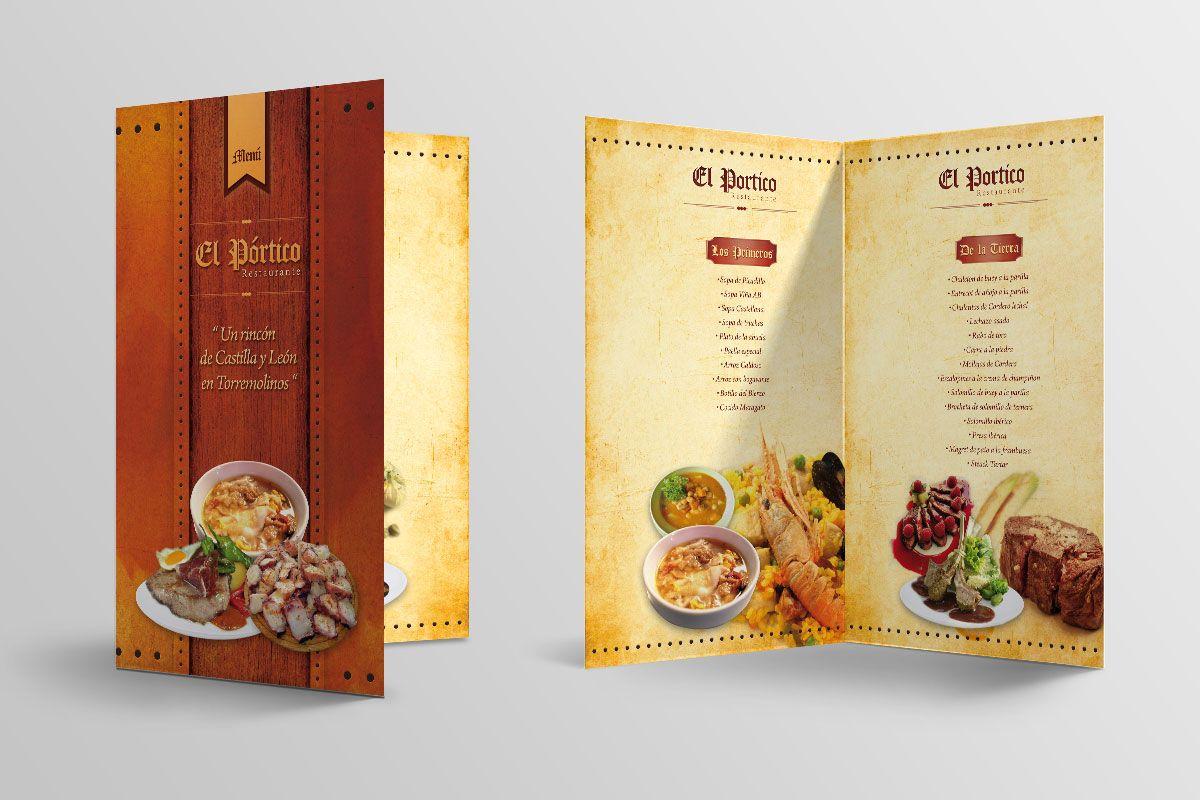 Carta menú - Restaurante El Pórtico (Málaga) | Diseño Cartas menú ...