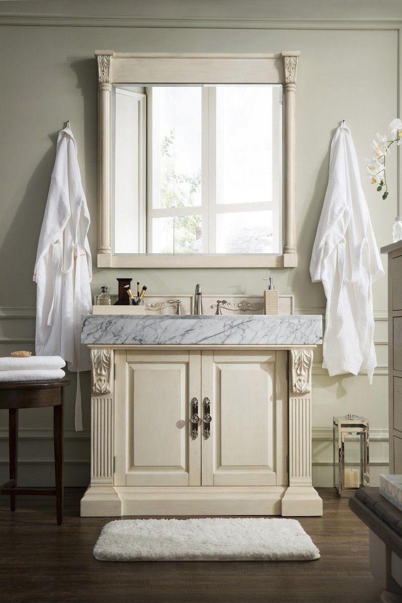 Wyndenhall salem 36 inch white quartz marble top single sink bathroom - 42 Inch Single Bathroom Vanity Vintage Vanilla Finish White Marble Top