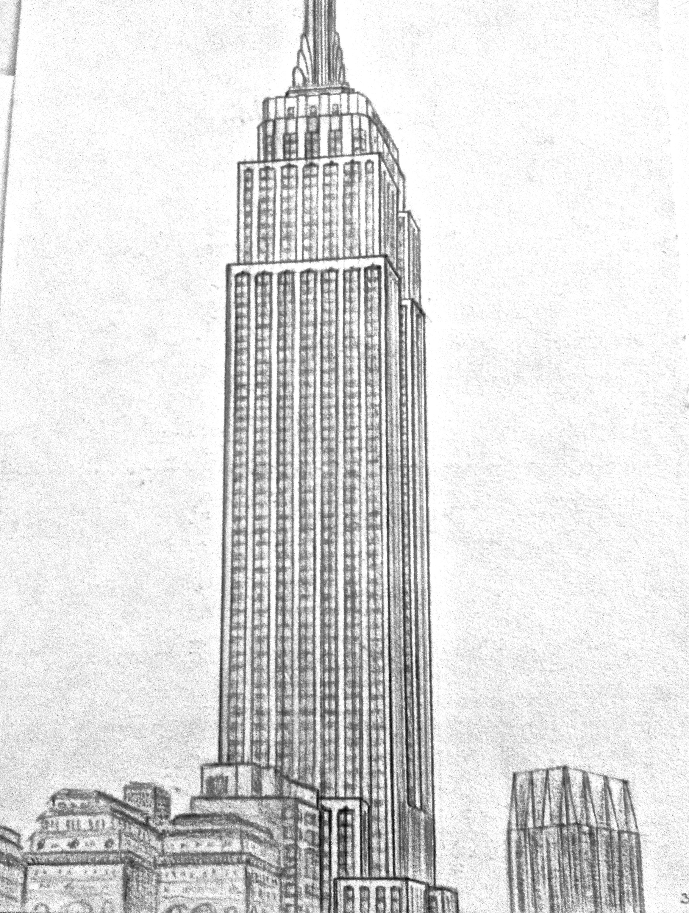 Empire State Building Sketched From Window Of Presidential Suite Pennsylvania Hotel Dibujos