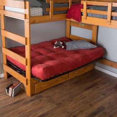 Woodcrest Heartland Futon Bunk Bed With Extra Loft Honey Pine Www Hayneedle Com Double Beds