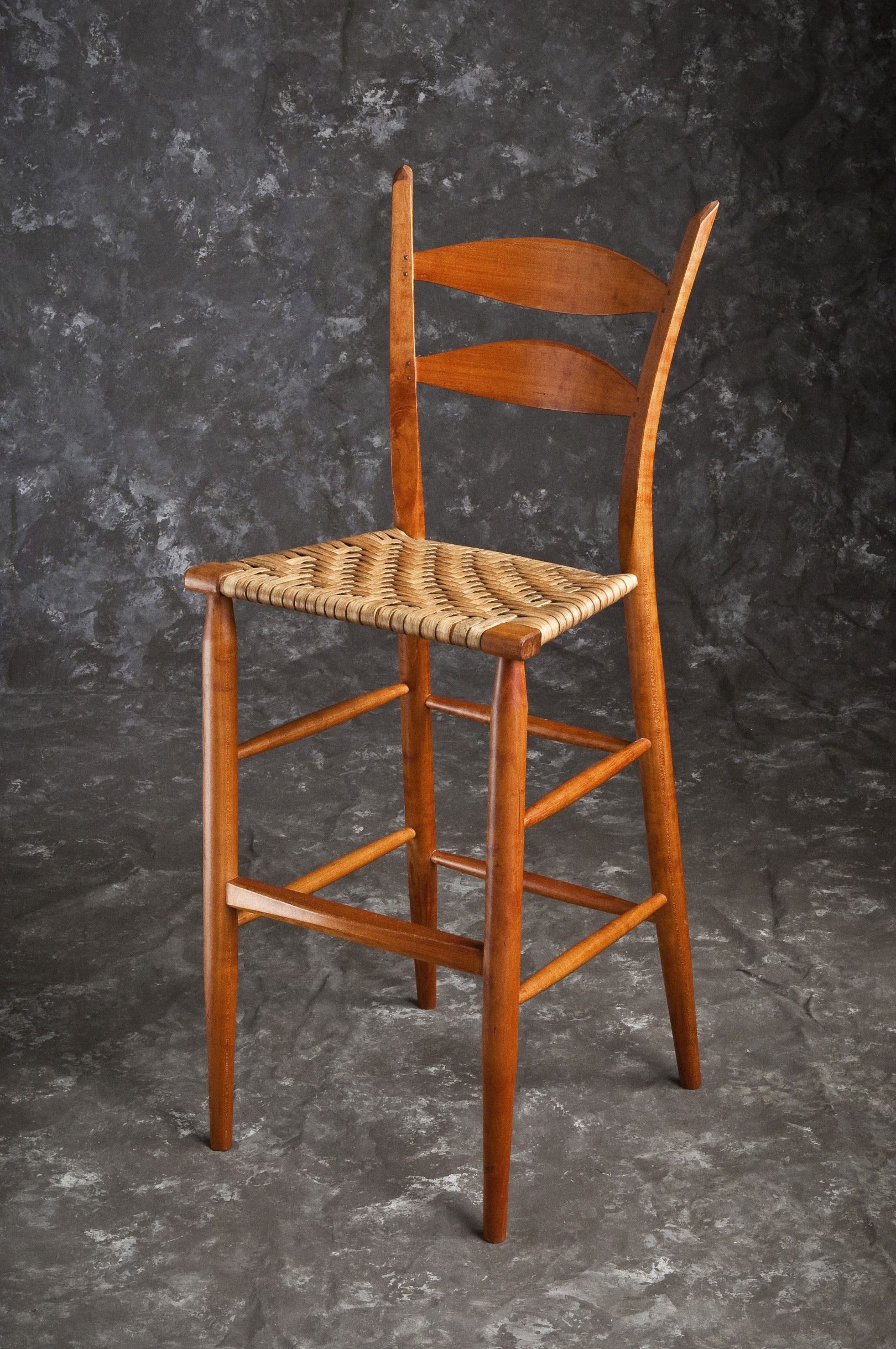 2 Slat Bar Stool in Cherry with Hickory Bark Seat | Great for a bar or an addition to a standing desk.