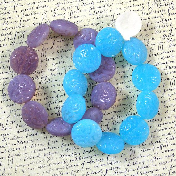 Fancy 13mm Puffed Coin Glass Bead Mix 50% off qty 20 by XOSupplies