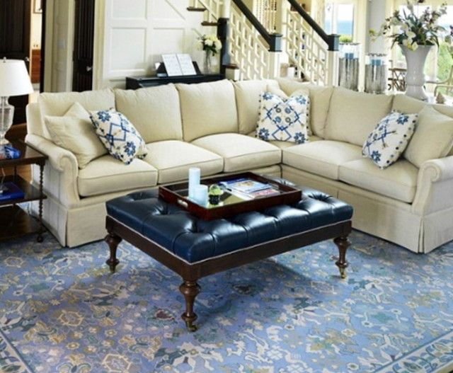 Superior Blue Tufted Ottoman Coffee Table