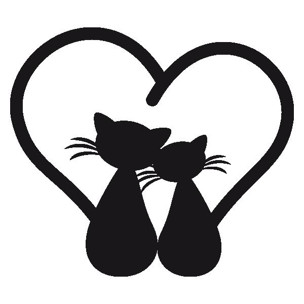 Coloriage Coeur Et Chat.Sticker Chats Amoureux Cameo Silhouette Chat Dessin Chat Et Dessin