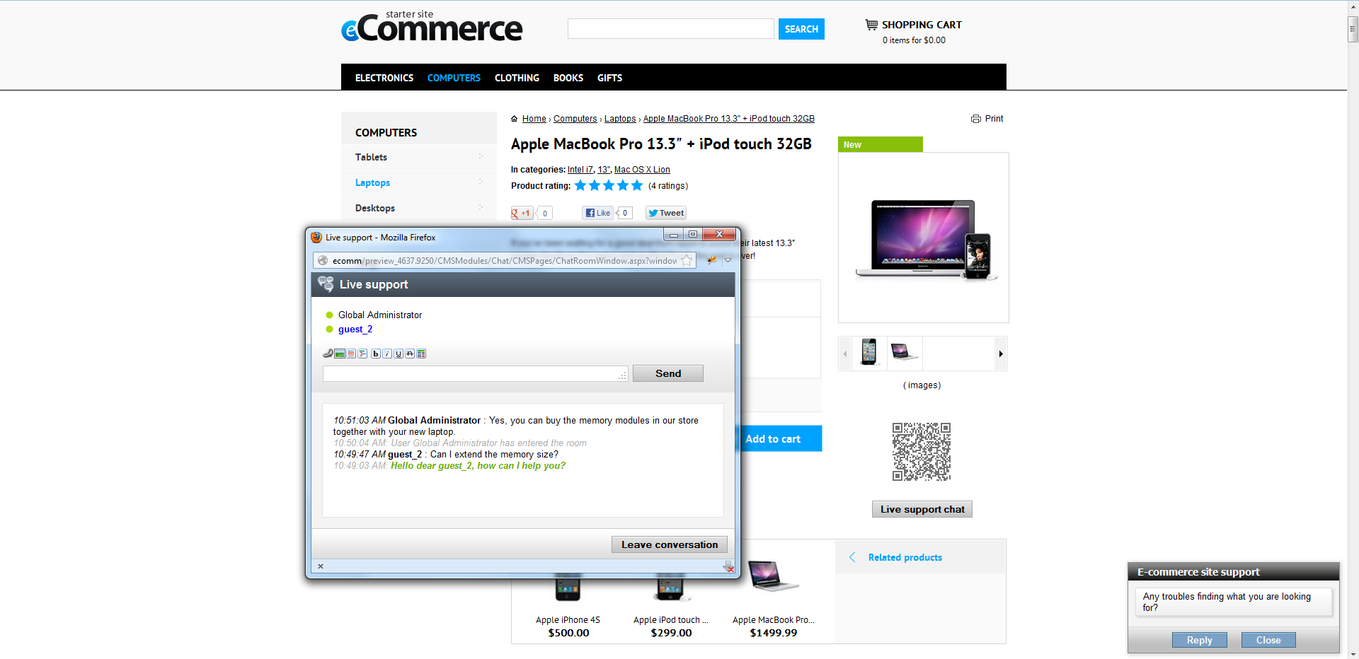 Live Chat Module on Sample site in Kentico CMS