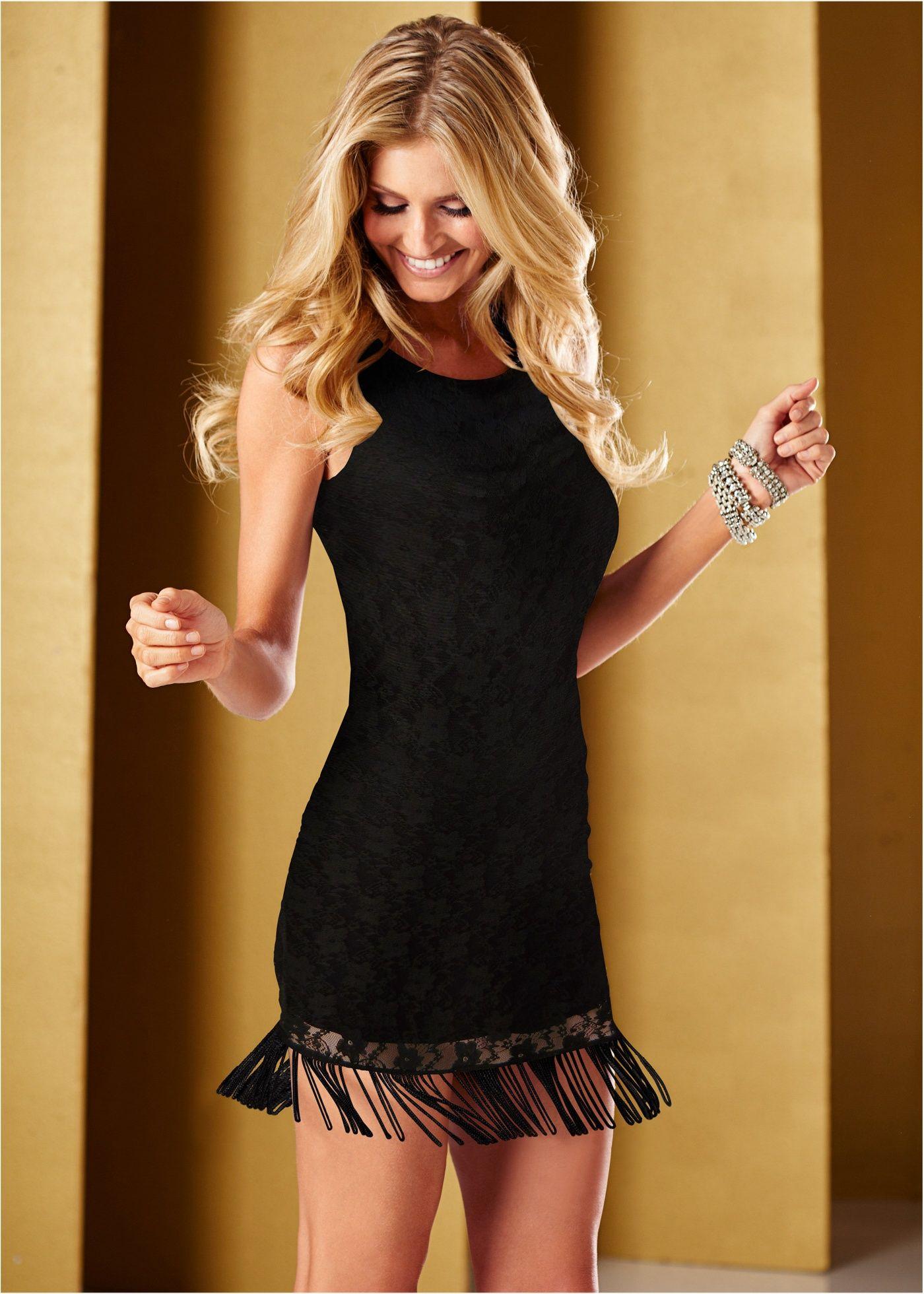 659e628c9 Vestido de renda com franjas preto encomendar agora na loja on-line  bonprix.com.br R$ 79,90 a partir de Vestido tubinho de renda com detalhe na  barra em .