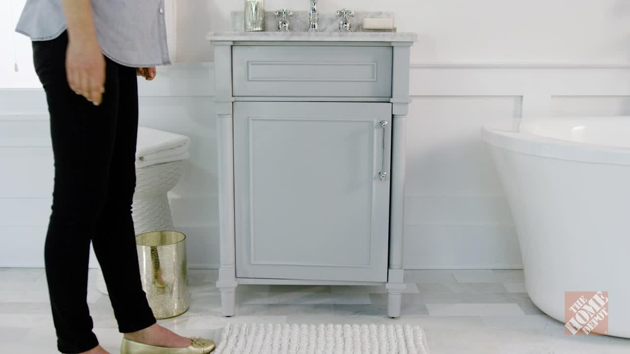 Home Decorators Collection Aberdeen 24 in. W x 20 in. D Vanity in White with Natural Marble Vanity Top in White with White Basin 8103200410 at The Home Depot - Mobile