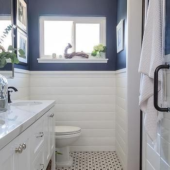 navy blue bath walls with white shiplap trim | shiplap
