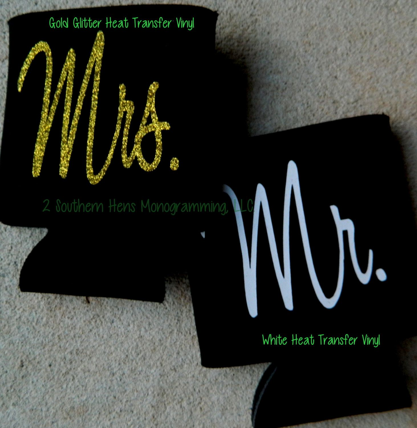 Set of Personalized Koozies Perfect gift for the Mr. and Mrs. to be  Glitter Vinyl for the Mrs. and Regular Vinyl for the Mr. - pinned by pin4etsy.com