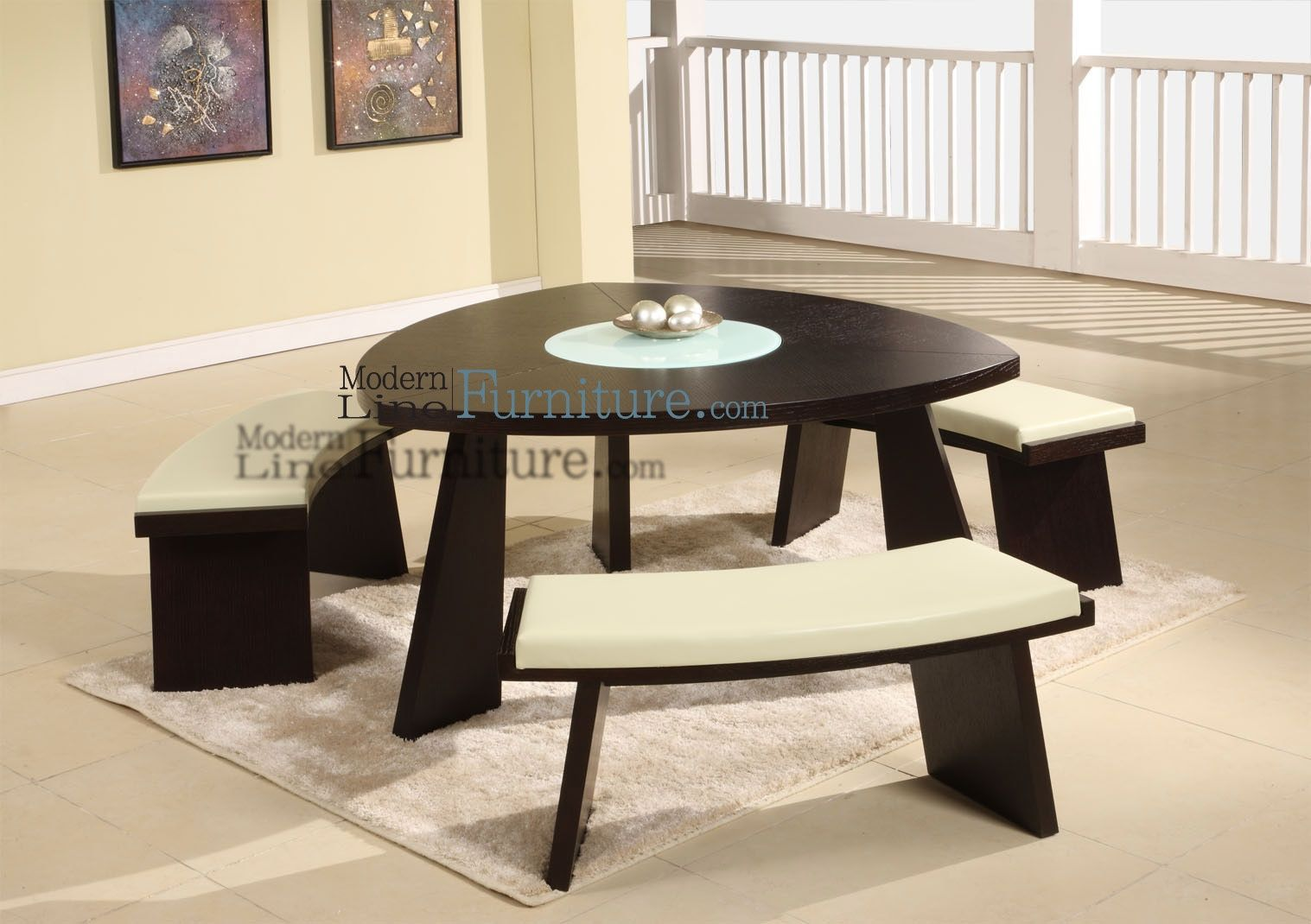 Superbe Triangle Dining Table With Benches Triangular Room Fabulous Decorating Ideas