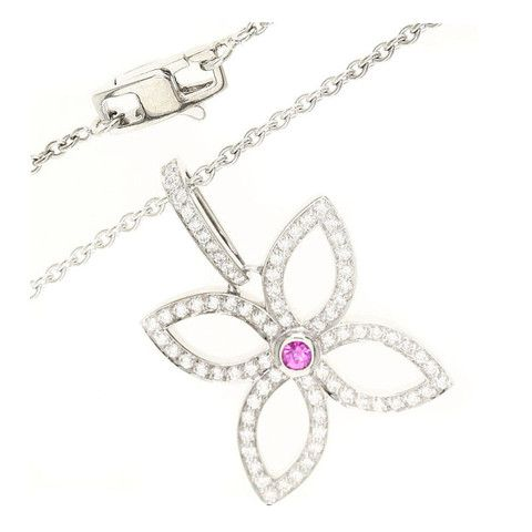 Louis Vuitton 18k White Gold Pink Sapphire / Diamond Pendant Necklace