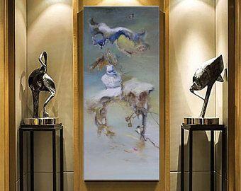 Olio su tela astratta, arte contemporanea, arte parete soggiorno ...