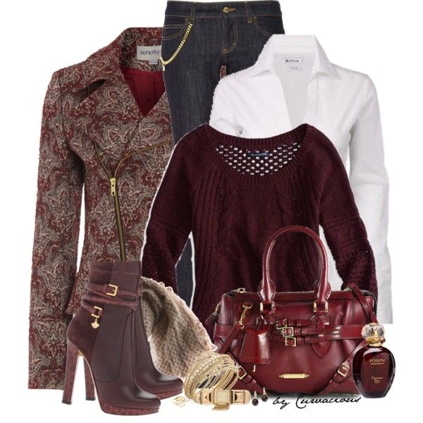 """Denim & Burgundy"" by curvacious on Polyvore"
