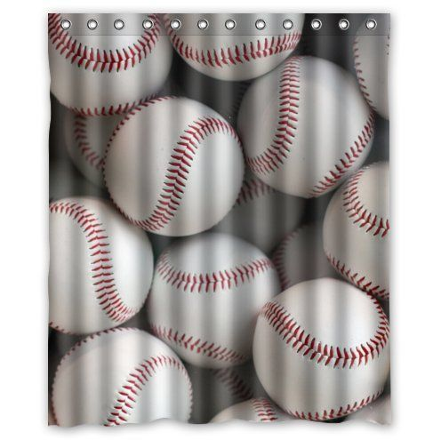 Shower Curtain Ideas Bathroom Sports Themed Baseballs Design Waterproof Fabric