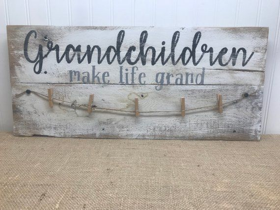 Grandchildren Make Life Grand - Grandparents Photo Display - Gift from Grandkids - Pregnancy Reveal