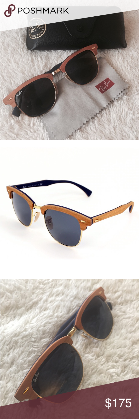 Ray-Ban Clubmaster Wood Sunglasses Wood brown frame with blue gray classic  lenses. 45c4d2d2cf