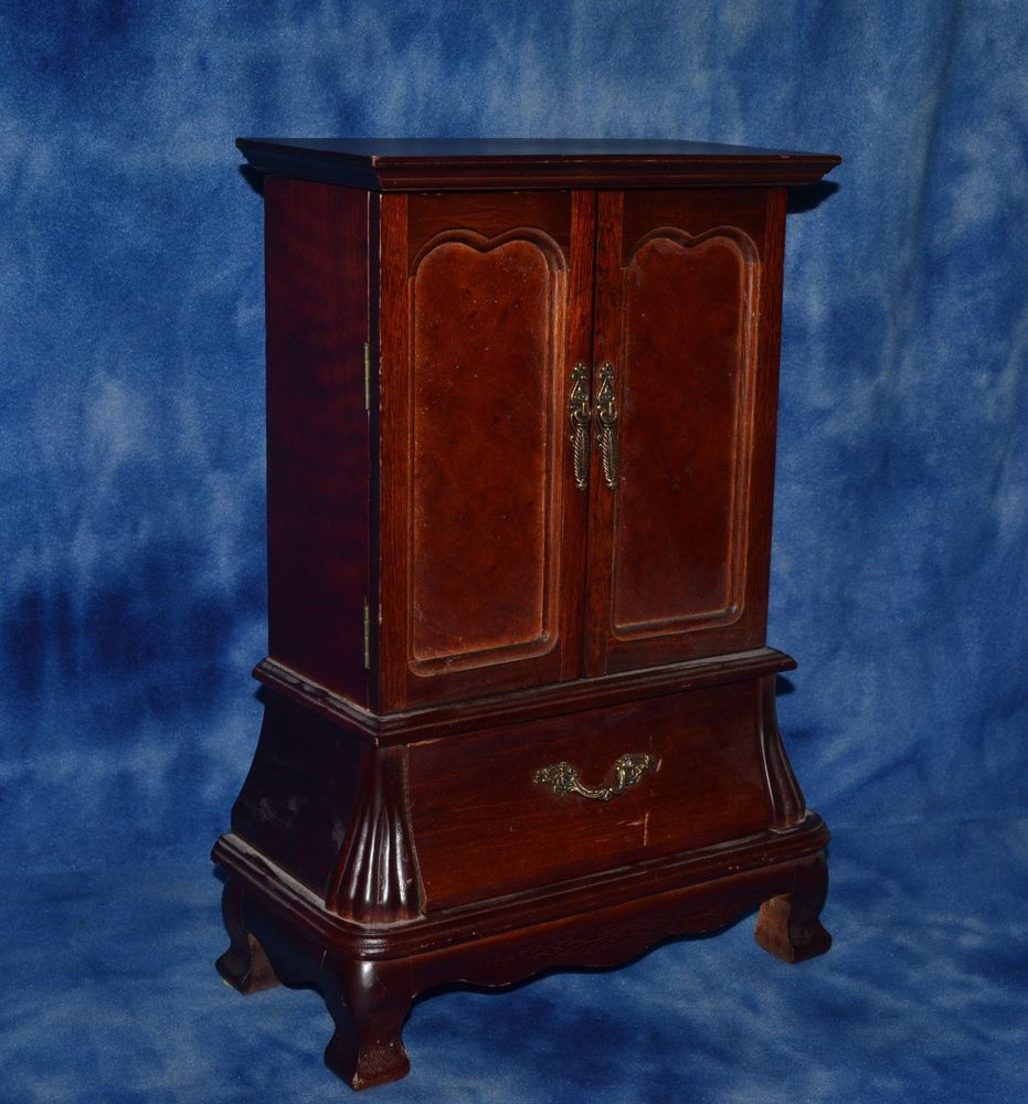 LARGE SOLID WOOD JEWELRY BOX ARMOIRE STYLE VINTAGE # ...