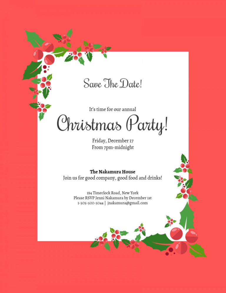 006 Free Christmas Save The Date Templates For Word