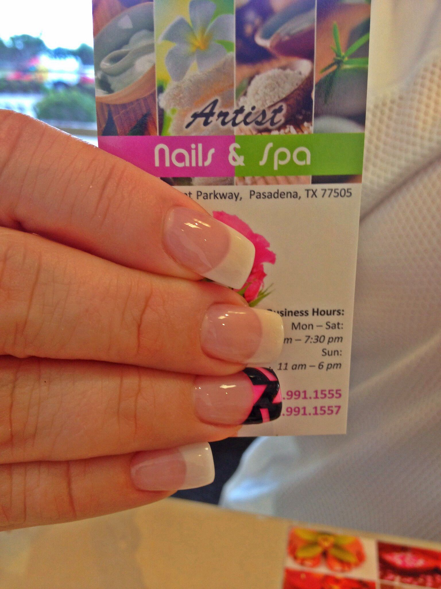 French nails with black color block | ARTIST NAILS AND SPA ...