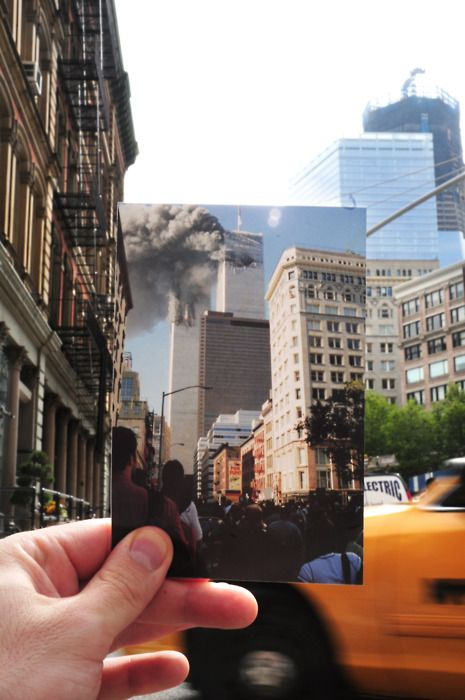 "go to DearPhotograph.com to see more like this + fun ways to make your own. Original caption: ""Dear Photograph, I was astounded, but I hadn't time to consider what I was seeing."" - Mark Yokoyama. #dearphotograph #september11"